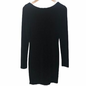 Favlux Black Plunge Back Long Sleeve Mini Dress